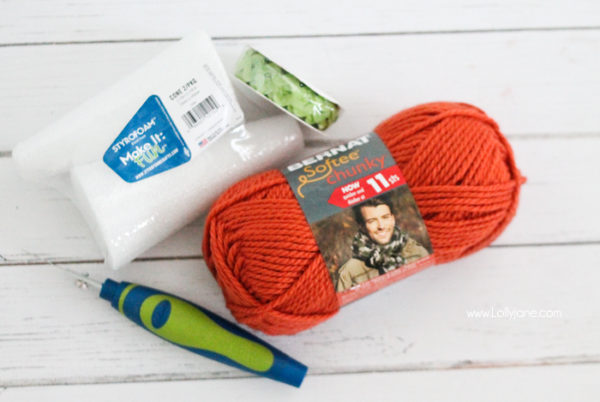 Supplies to make yarn wrapped carrots from foam cones. Cute! #spring