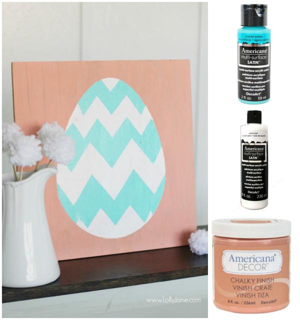 Spring Easter egg sign decor, quick tutorial!  |via LollyJane.com #spring #easter
