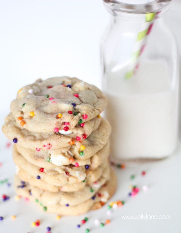 The perfect birthday cookie- white chocolate chips + rainbow sprinkles! Yum! #birthday