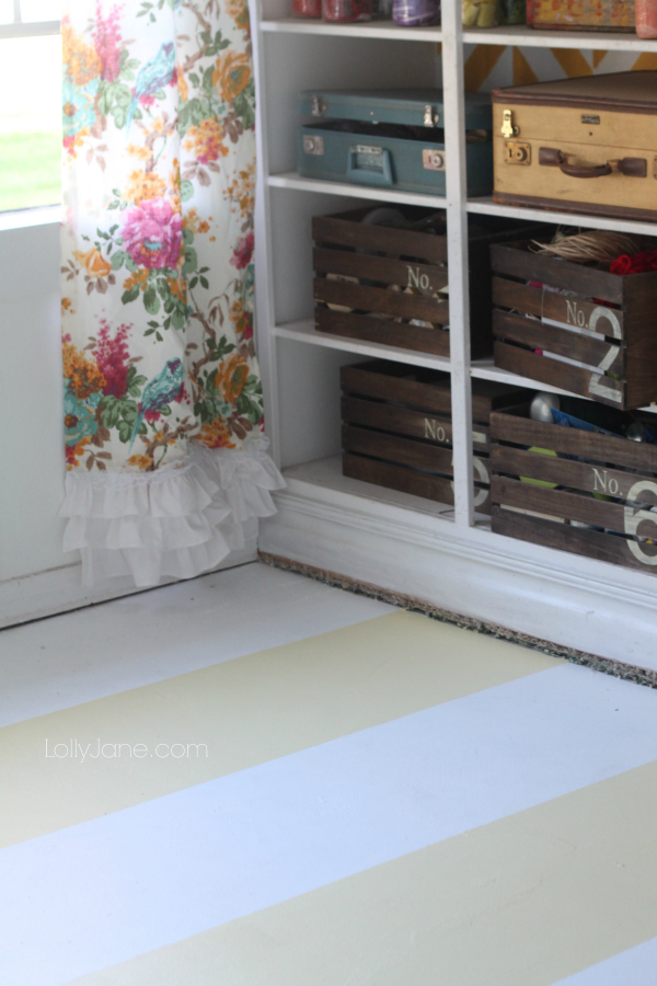 Pretty yellow and white striped painted flooring, easy how to!