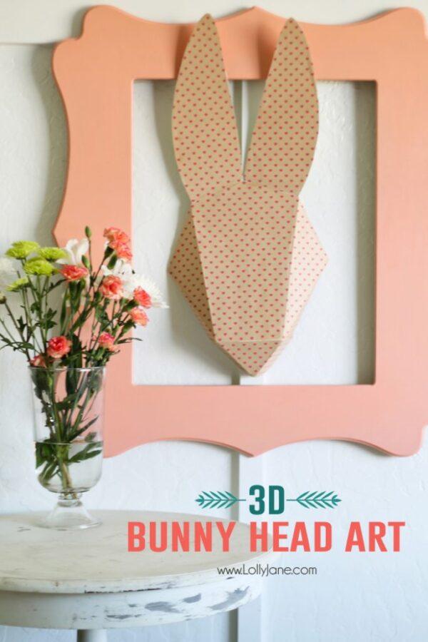 3D Bunny Head Paper Art. Cute! #springdecor