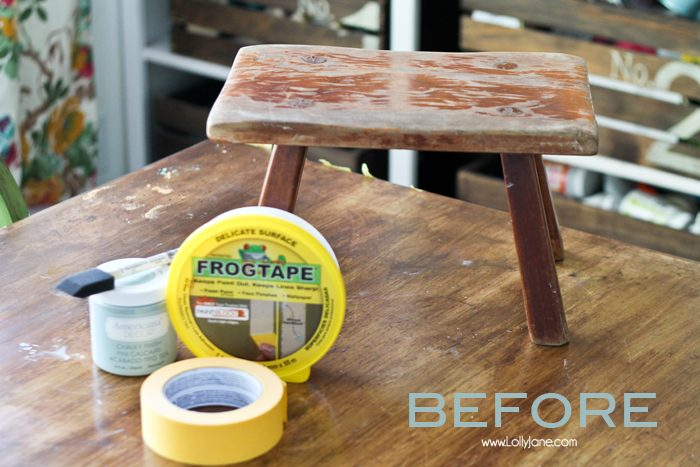 Striped nautical stool makeover. Check out how easy it was to paint this stool in chalky paint and the crisp lines using painters tape. Love this quick DIY!