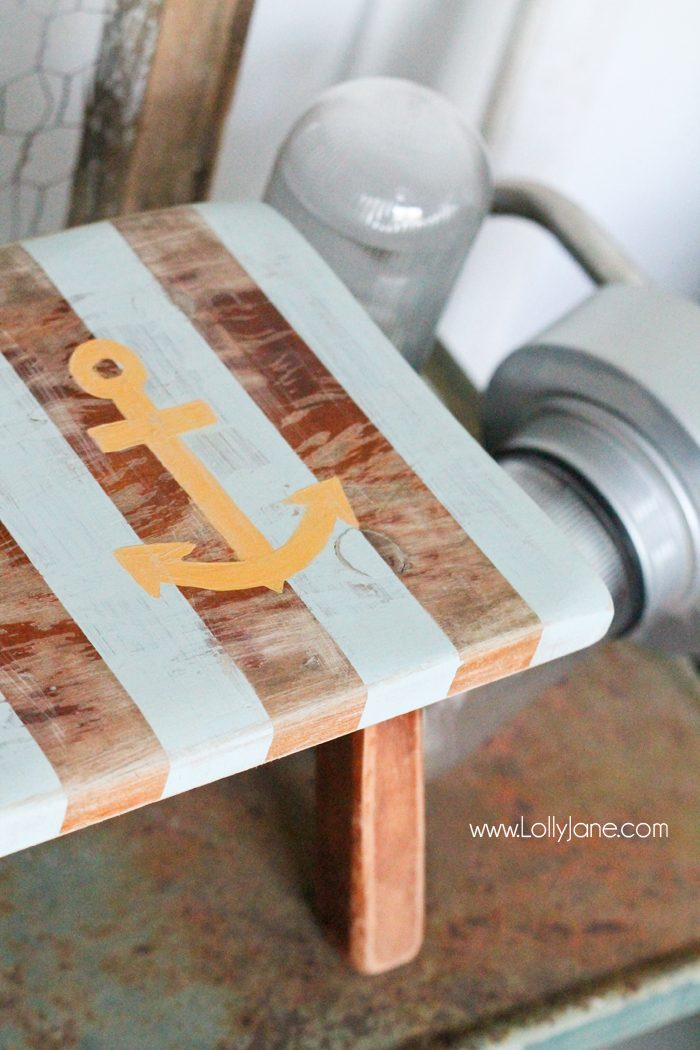 Cute little striped nautical stool revamp