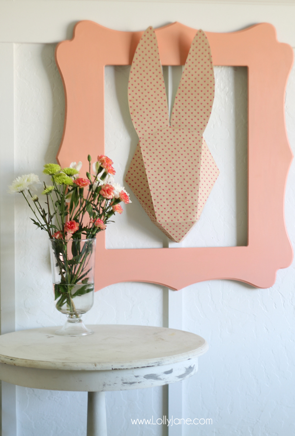 Cute 3D Bunny Head Paper Art. Perfect spring decor by lollyjane.com!