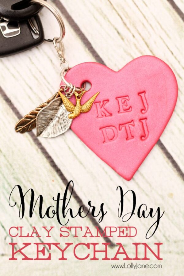 Make a simple Mother's Day clay keychain! Stamp the childrens initials. Easy and SO cute! via lollyjane.com