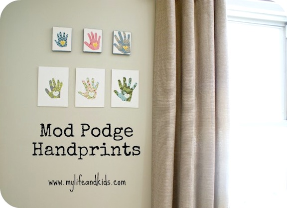 Mod Podge Handprint Canvas + lots of other Mothers Day ideas!