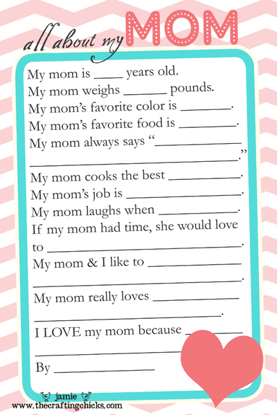 Mothers Day questionnaire + lots of other Mothers Day ideas!
