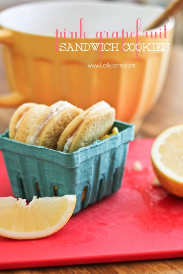 Pink Grapefruit Sandwich Cookies. Tastes just like grapefruit... in cookie form! Yum! @lollyjaneblog #cookies