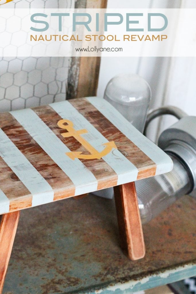 striped nautical stool revamp