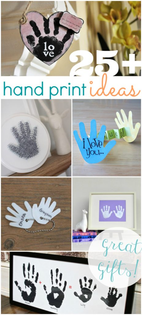 25 adorable hand print gift ideas! Perfect for Mother