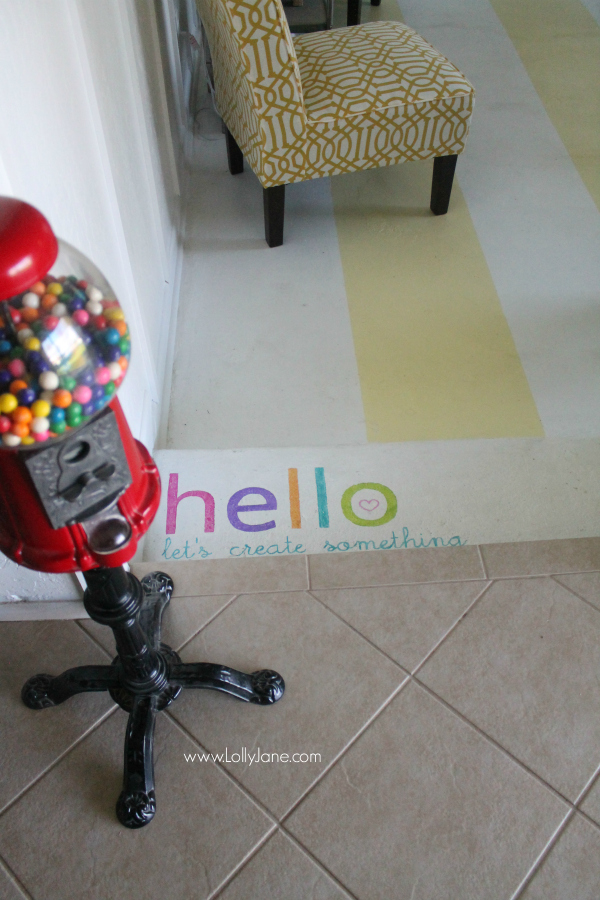 Painted HELLO greeting to a colorful and happy craft room!