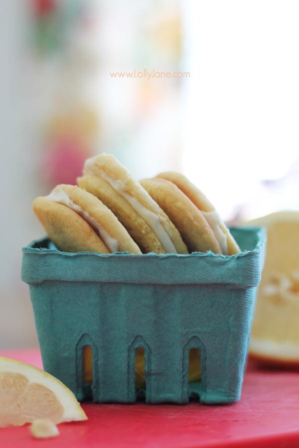 Pink Grapefruit Sandwich Cookies, SO yummy!! @lollyjaneblog