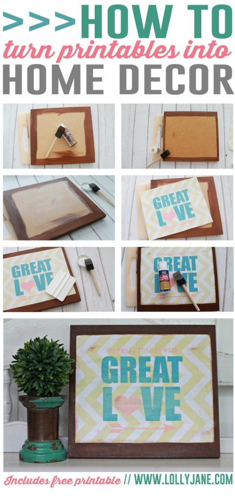 Love this easy DIY! Turn printables into home decor... includes FREE printable! via @lollyjaneblog