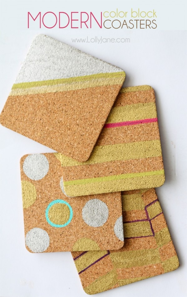 Modern Colorblock Cork Coasters... fun and inexpensive!