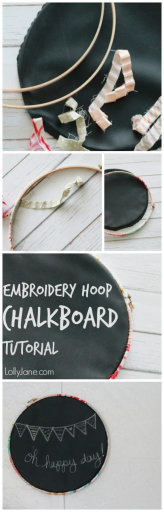 Easy embroidery hoop chalkboard tutorial via @lollyjaneblog