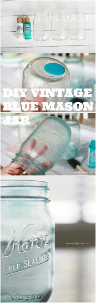 DIY vintage blue mason jar, easy step by step! via @lollyjaneblog