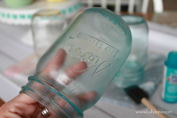 Glitter Blue Mason Jars tutorial