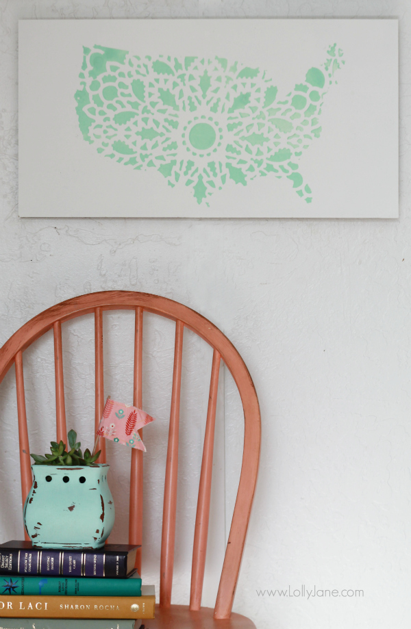Pretty mint stencil United States sign, easy home decor tutorial. @lollyjaneblog