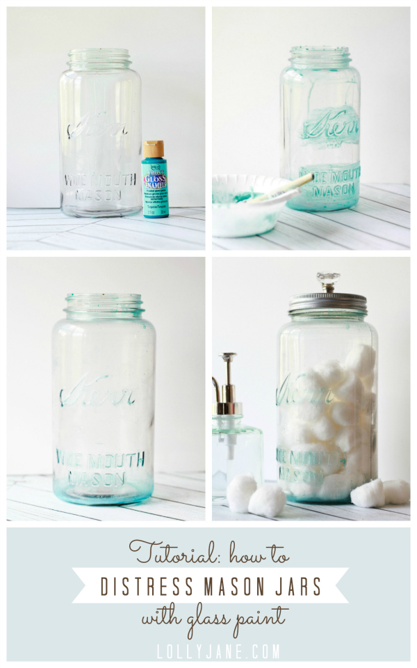 How to distress mason jars with glass paint. Awesome! via @lollyjaneblog