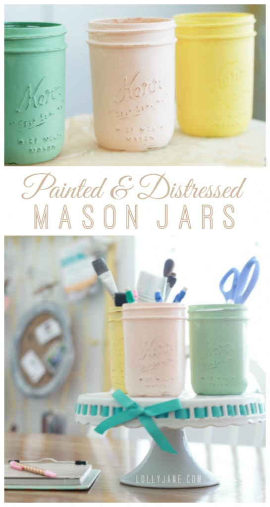 Painted + Distressed mason jars. Love these! Perfect for storage, via @lollyjaneblog