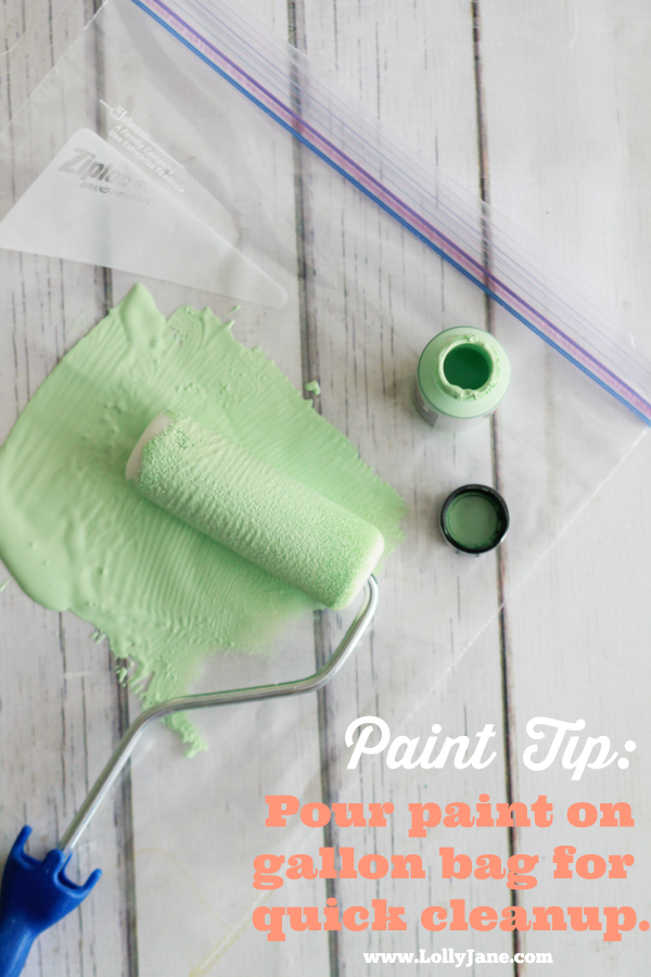 Painting Tip: Use a gallon bag when painting small spaces, just throw away when done! @lollyjaneblog