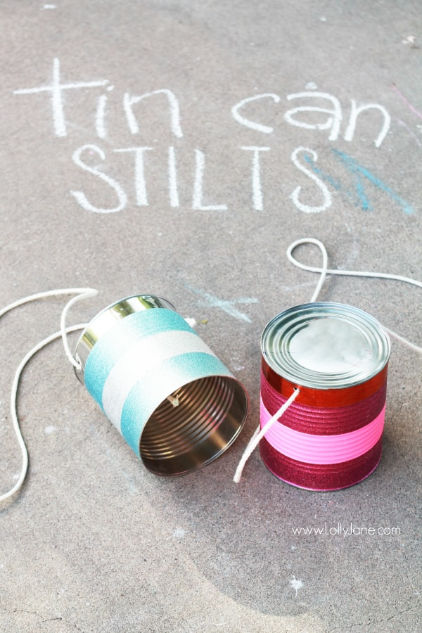 Easy tin can stilts tutorial via @lollyjaneblog