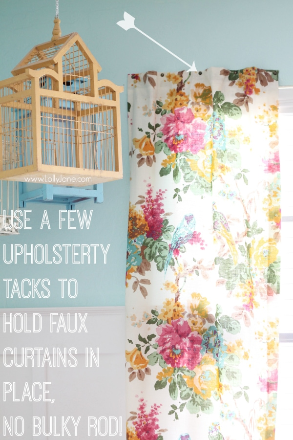 Quick tip to hang a faux curtain without a rod? Upholstery tacks!!