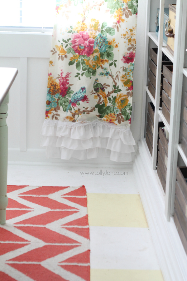 Add white ruffles to these pretty World Market curtains to add length and customization! @lollyjaneblog {www.lollyjane.com}