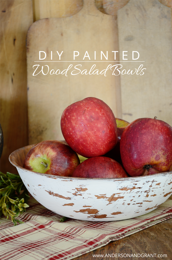 DIY Painted Wood Salad Bowls