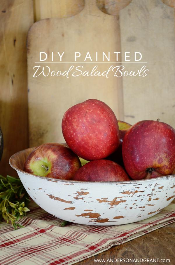 DIY Painted Wood Salad Bowls