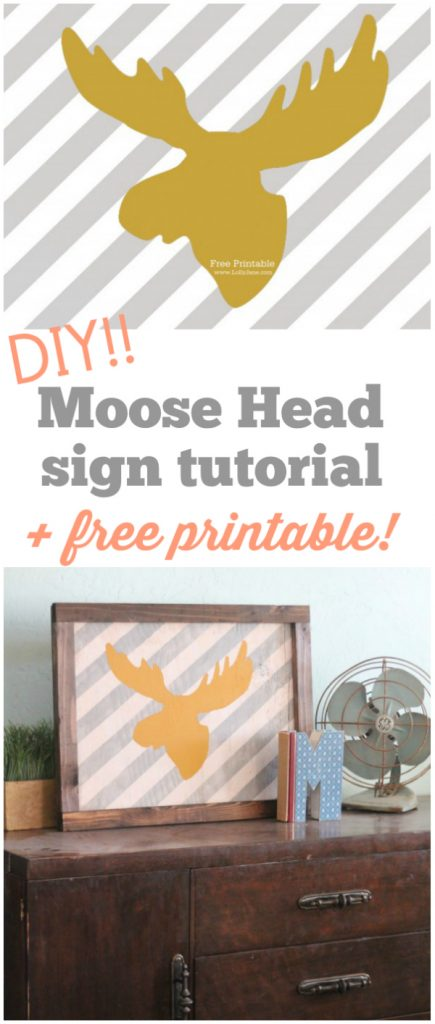 FREE striped moose head printable!!  |via LollyJane.com