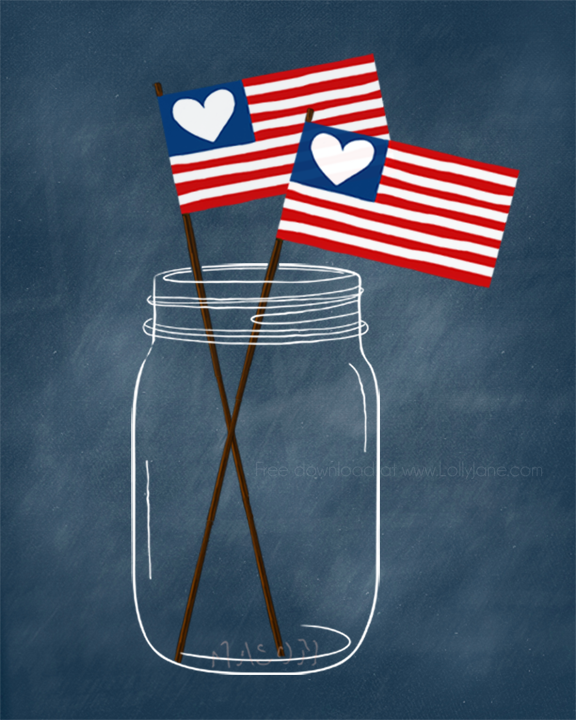 Cute patriotic (free!) mason jar printable. Perfect for the 4th! @lollyjaneblog