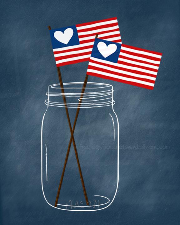 Cute patriotic (free!) mason jar printable. Perfect for the 4th! @lollyjaneblog