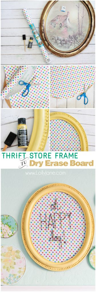 Polka dot dry-erase board from a thrifted frame! via @lollyjaneblog
