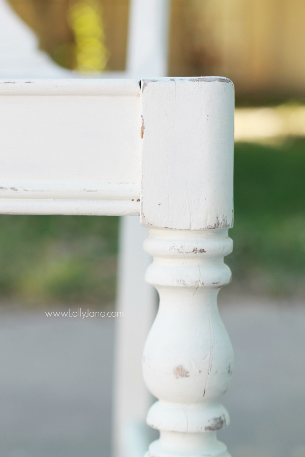 "Pretty ""chippy"" finish on this chair makeover via @lollyjaneblog"