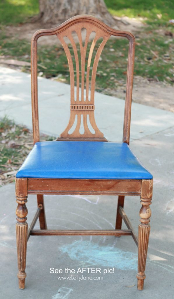 How to paint an old chippy chair, so easy. Come see the AFTER photo, total makeover! via @lollyjaneblog