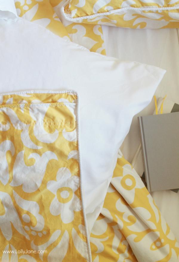 Master Bedroom Refresh, hello yellow! Gorgeous duvet + shams!   via www.lollyjane.com