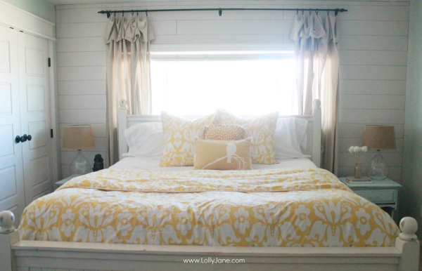Master Bedroom Refresh, hello yellow! Gorgeous duvet + shams! | via www.lollyjane.com