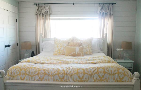Master Bedroom Refresh, hello yellow! Gorgeous duvet + shams! | via www.lollyjane.com