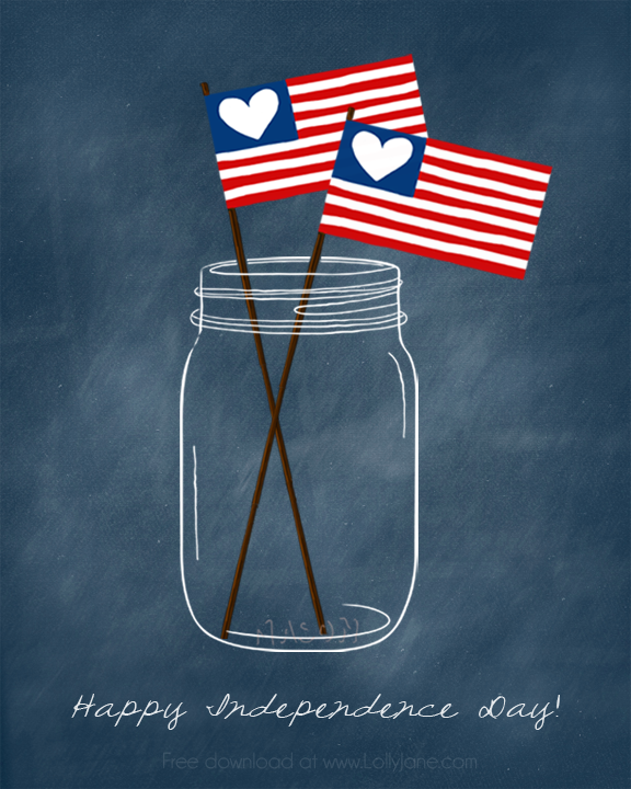 Patriotic Mason Jar (free) Printable. Perfect for the 4th! via @lollyjaneblog