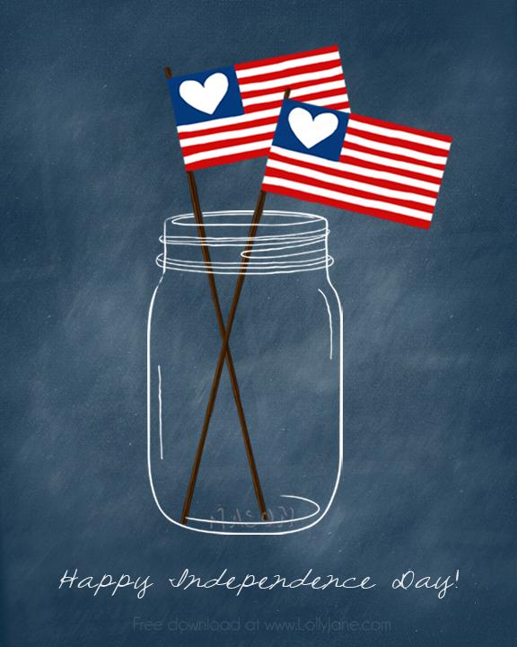Patriotic Mason Jar (free) Printable. Perfect for the 4th! via @lollyjaneblog