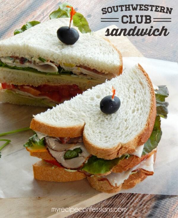Southwestern Club Sandwich with avocado spread via @myrecipeconfessions