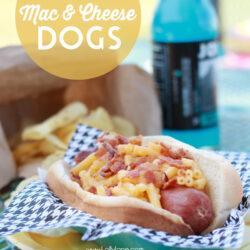 Bacon mac 'n cheese hot dogs