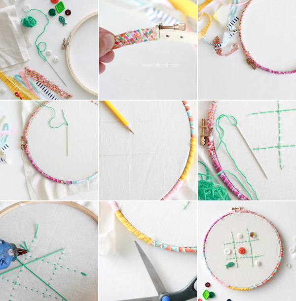 Make an easy Tic-Tac-Toe game from an embroidery hoops + buttons. Fun! via lollyjane.comMake an easy Tic-Tac-Toe game from an embroidery hoops + buttons. Fun! via lollyjane.com