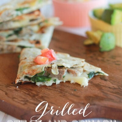 Grilled steak and spinach quesadillas