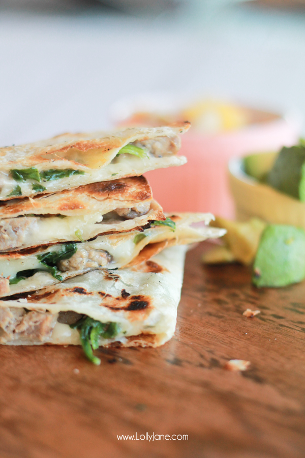 Grilled Steak and Cheese Quesadillas (with pineapple mango salsa) via lollyjane.com