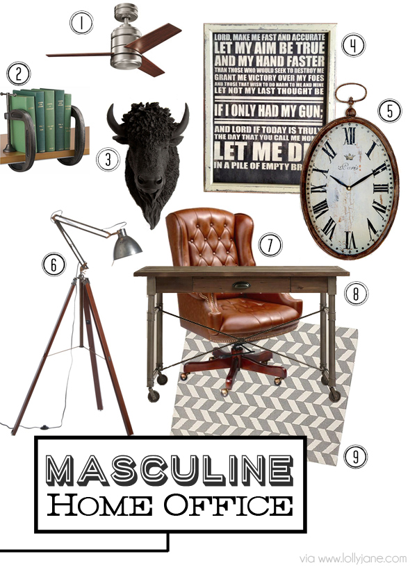 Awesome mood board for Masculine Home Office ideas via lollyjane.com