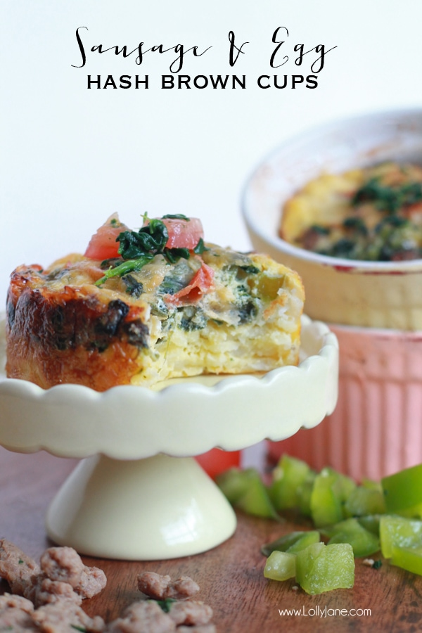 Sausage & Egg Hash Brown Cups. Perfect for breakfast or brunch!   lollyjane.com