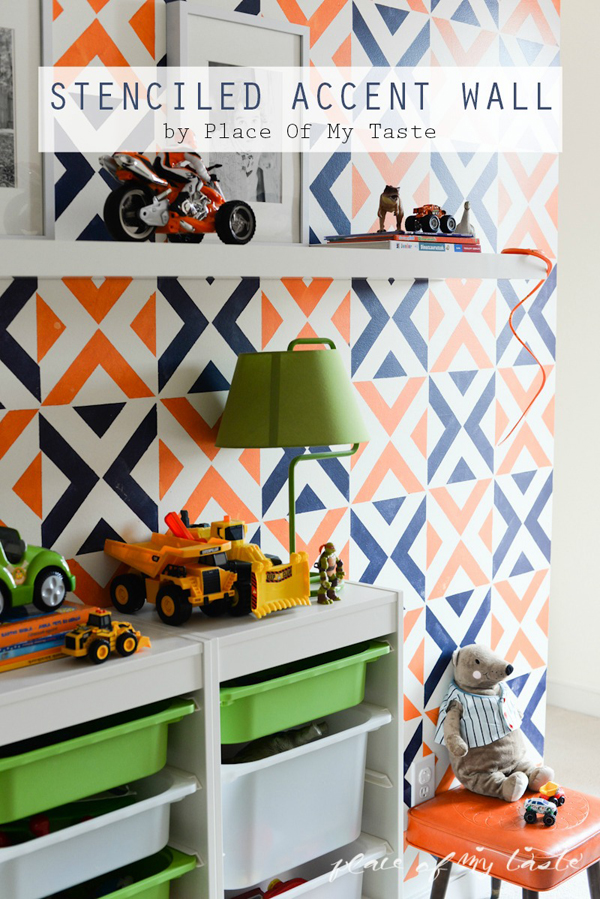 Cute stenciled accent wall