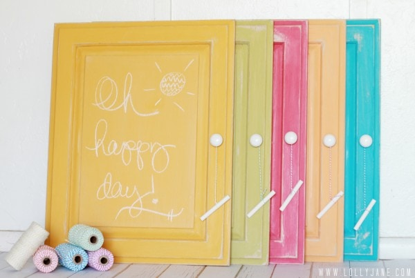 Chalkboard any surface in any color... awesome tutorial! via lollyjane.com